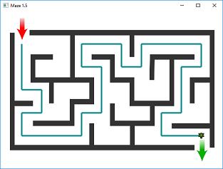 Screen shot of a program Maze 1.5