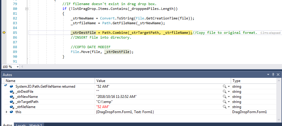 Error of Image in debug window