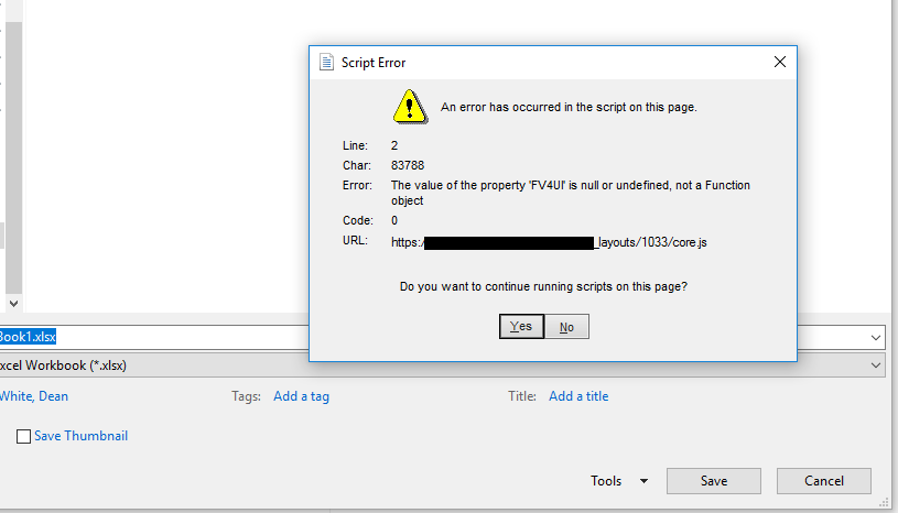 Saving document directly to SharePoint 2010 Library causing Script Error