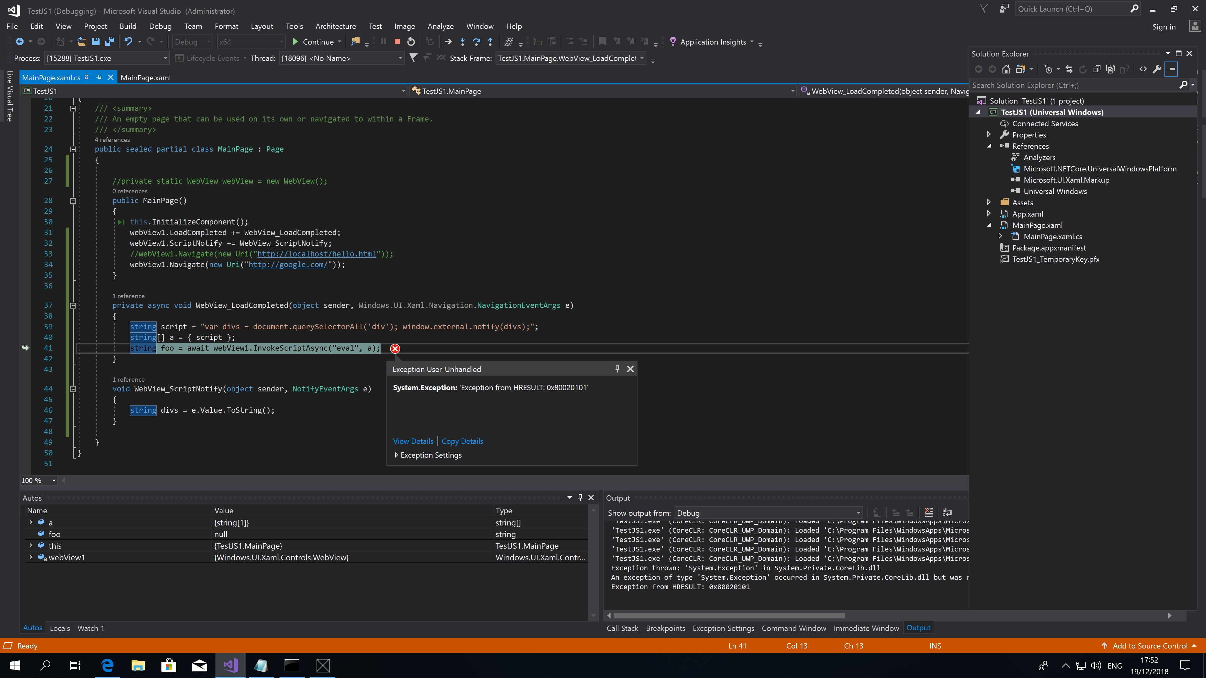 UWP][JS]How to use JavaScript to get DOM using WebView