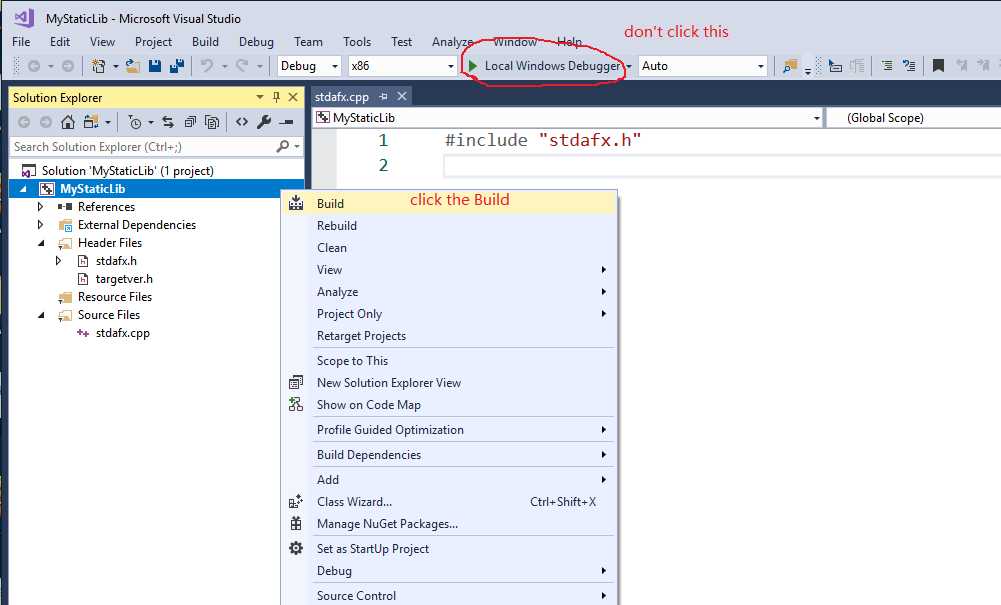 lib is not a valid Win32 application - Visual Studio 2017
