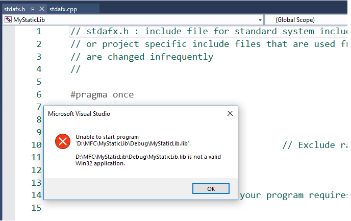 lib is not a valid Win32 application - Visual Studio 2017