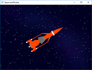 Screen shot of a program Space and Rocket 0.2
