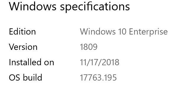 Windows 10 build 17763.195 (Version 1809)