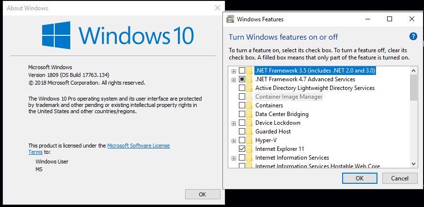 enabling .net framework 3.5 on windows 10 build 1809