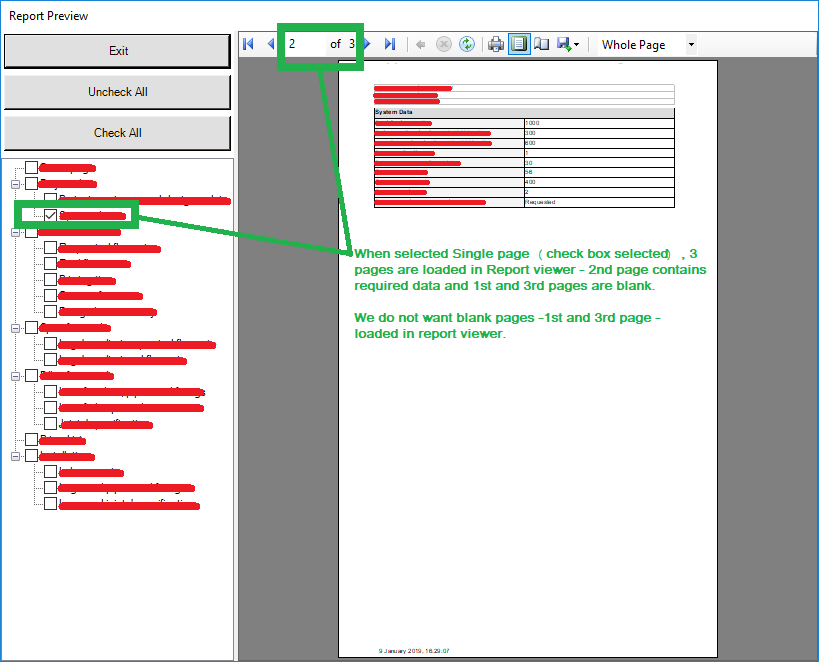 RDLC Report-viewer shows blank pages when selecting 3rd page