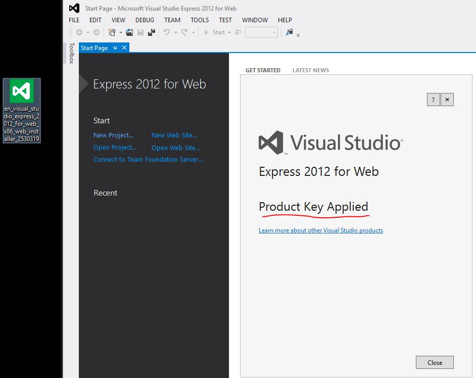 microsoft visual studio express 2012 keygen