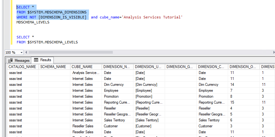 Requesting Schema with hidden dimensions C# Adomd