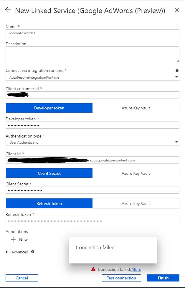 Google Adwords Connector -- Connection Error