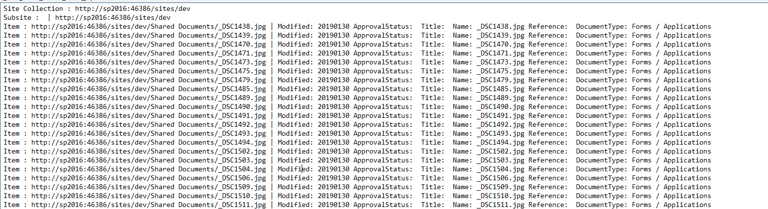 Powershell to extract a list of all Documents from a web