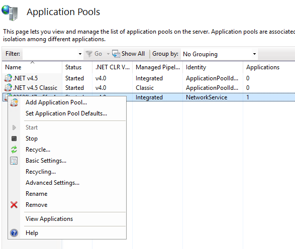 How to set application pool recycle period when deploy to cloud service?