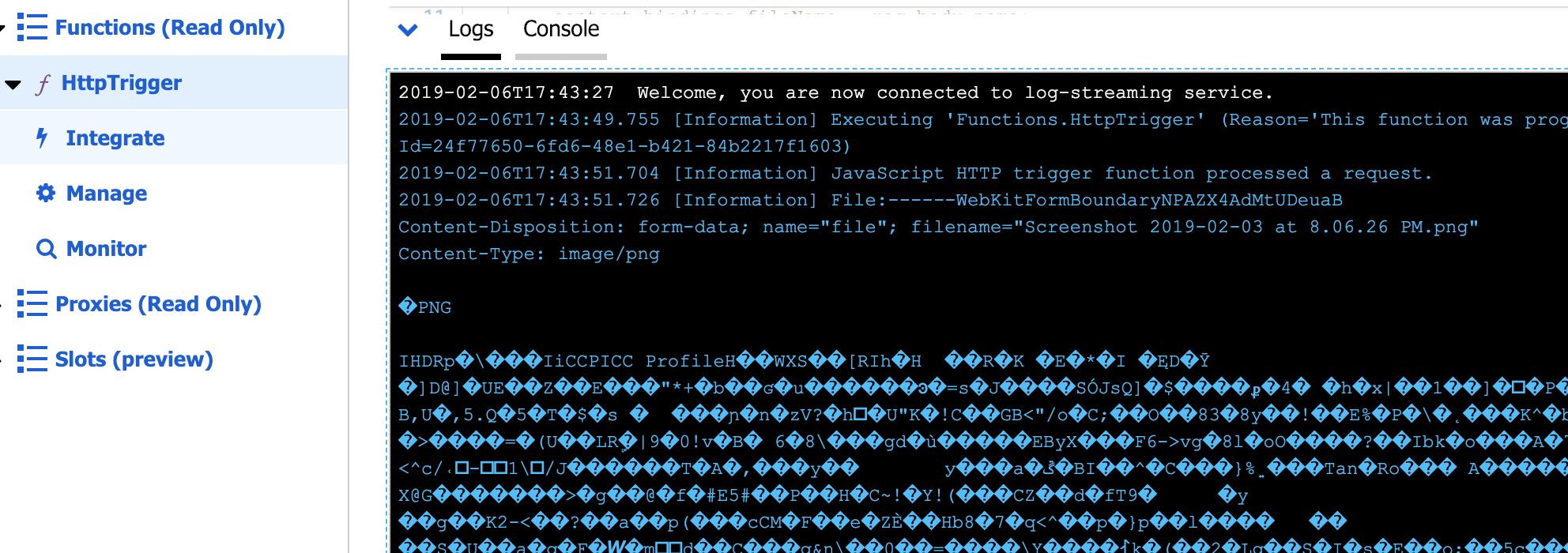 HttpTrigger with multipart formdata