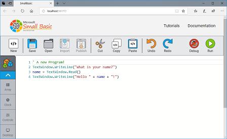Screen shot of a program SmallBasic.Editor
