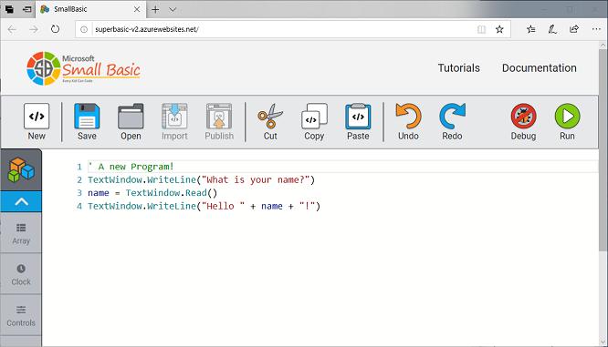 Screen shot of SBO 1.0 beta (SuperBasic v2)