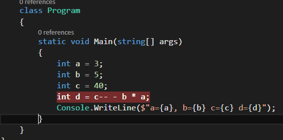vs2015 C# editor divides the string by an order of operations