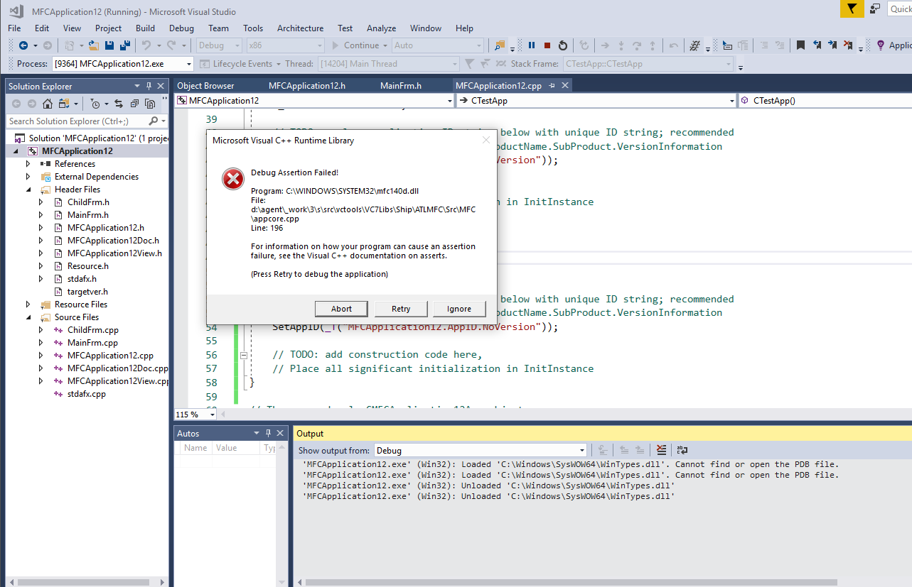 Appcore cpp 196 assertion in Dialog when moving from VC++