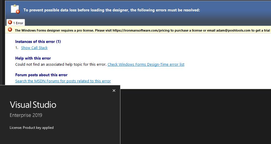 Visual Studio Designer 2019 License Error