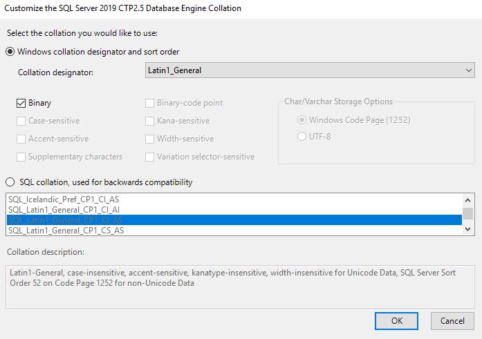 SQL Server 2019 Latin1_General collations