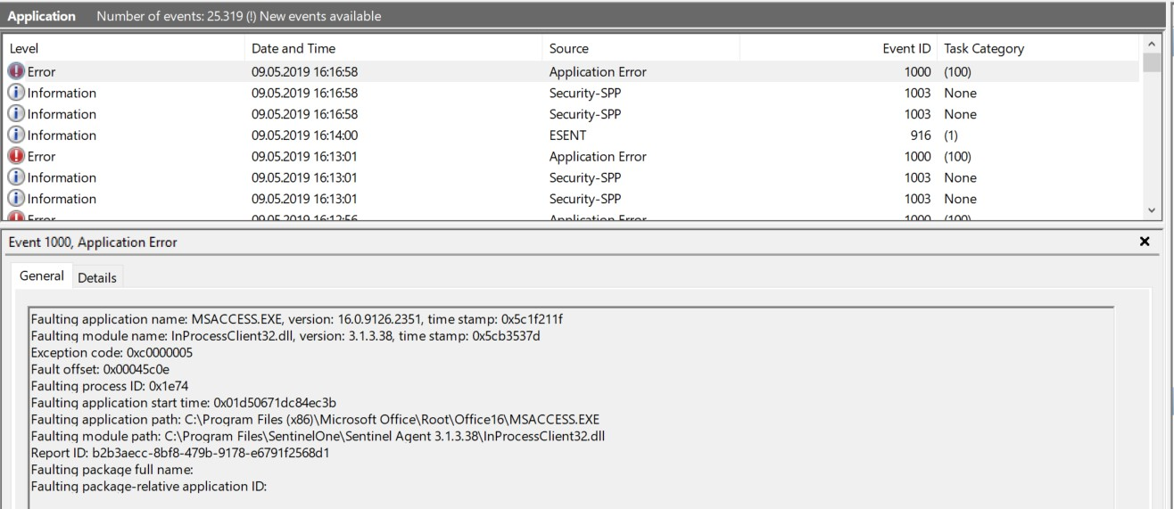 Description from the Event Viewer