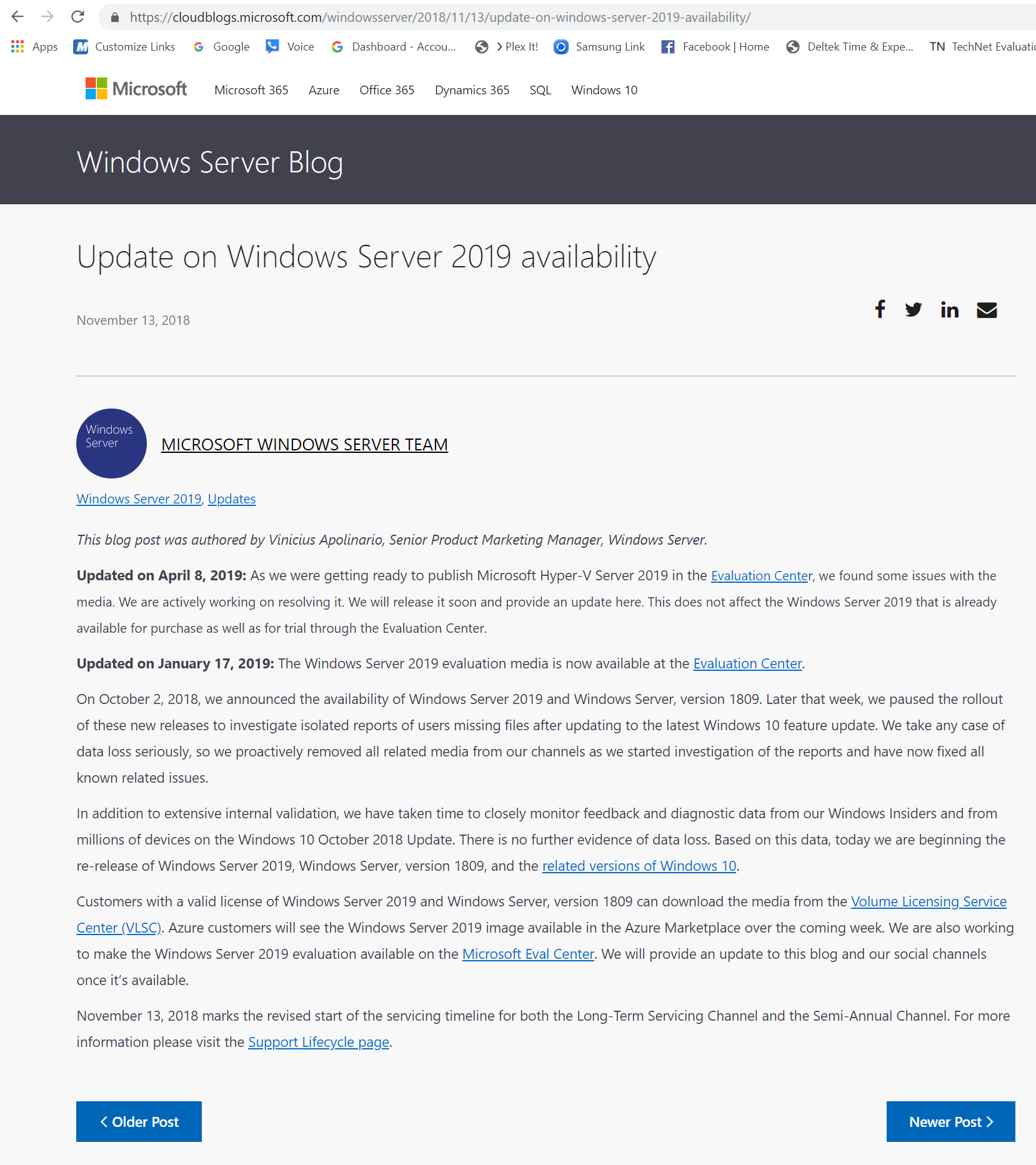 Why is Windows Server 2019 Datacenter missing for Microsoft