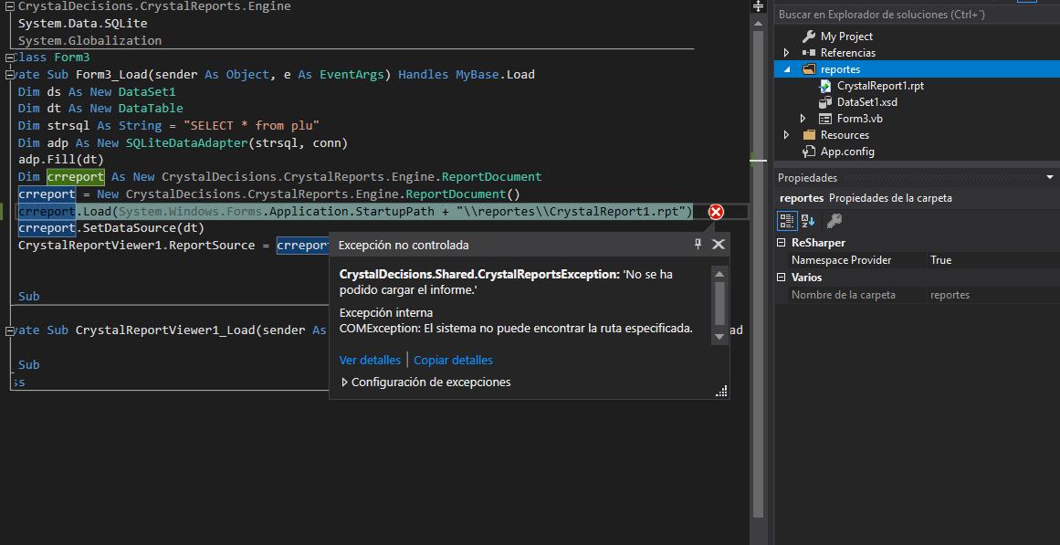 """buenas como dice el titulo trato de cargar un crystal report y no encuentrar el path no se donde me estoy equivocando  ya probe crreport.Load(System.Windows.Forms.Application.StartupPath + """"\\reportes\\CrystalReport1.rpt"""")               crreport.Load(Application.StartupPath + """"\reportes\CrystalReport1.rpt"""")  crreport.Load(System.Windows.Forms.Application.StartupPath & """"\\reportes\\CrystalReport1.rpt"""")  crreport.Load(Application.StartupPath  & """"\reportes\CrystalReport1.rpt"""")  crreport.Load(Application.StartupPath  & """"\\reportes\\CrystalReport1.rpt"""")  y ninguna con exito donde me estoy equivocando?"""