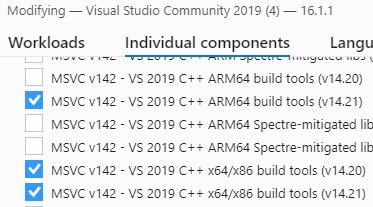 Visual Studio 2019 Community - VCToolsInstallDir property not defined
