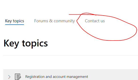 Contact us link on aka.ms/storesupport page