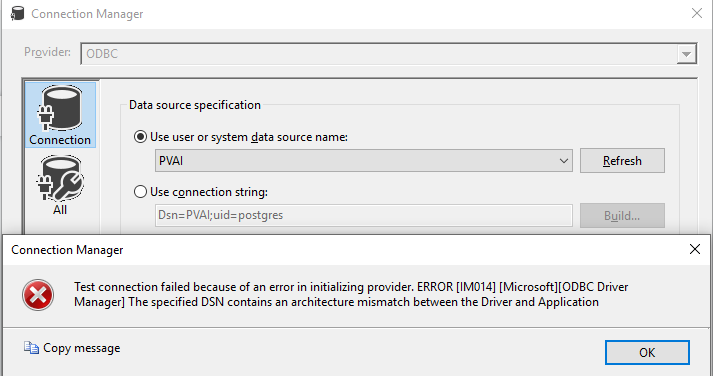 Working with a PostgreSQL database as a OLE DB destination