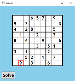 Screen shot of a program Sudoku 0.1