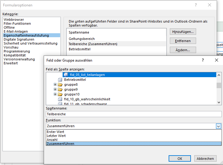 InfoPath-Optionen