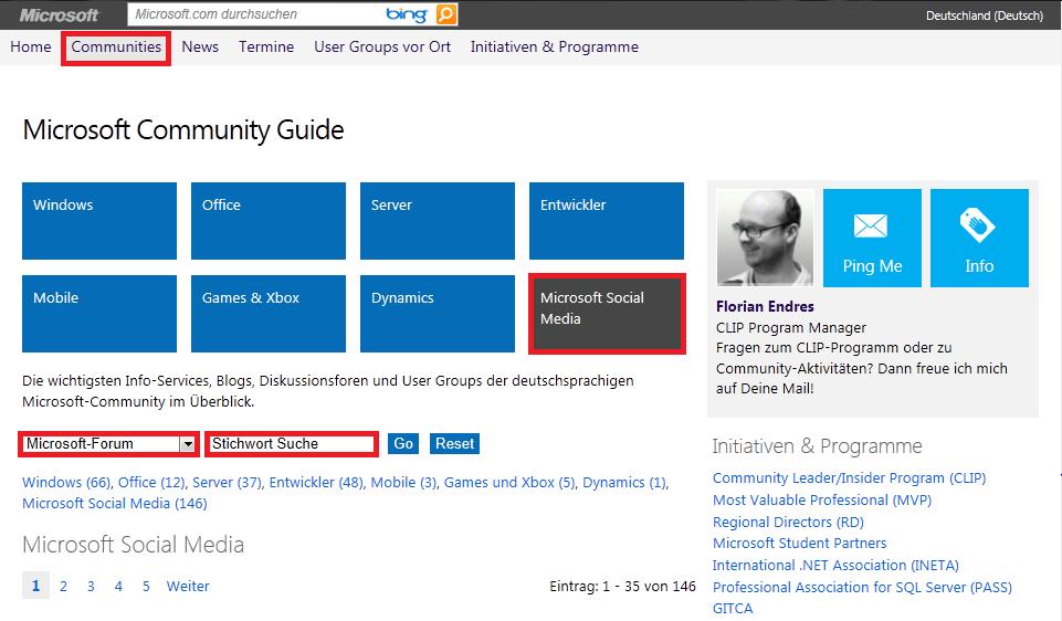 Eine Übersicht über alle verfügbaren Microsoft Foren