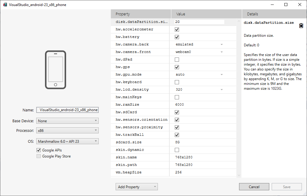 Android Emulator Device Settings