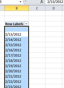 PowerPivot Table output