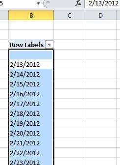 PowerPivot Table output