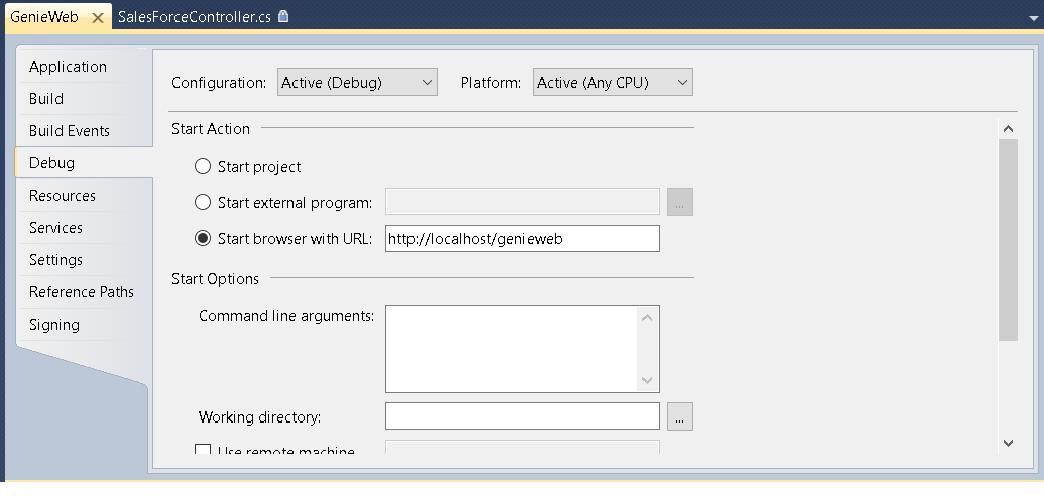 A screenshot showing debug settings