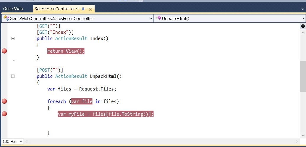 Image showing some breakpoints I set.