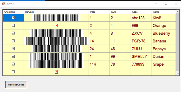 barcode generate more rows
