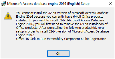 Error Message trying to install Access Database Engine 32bits