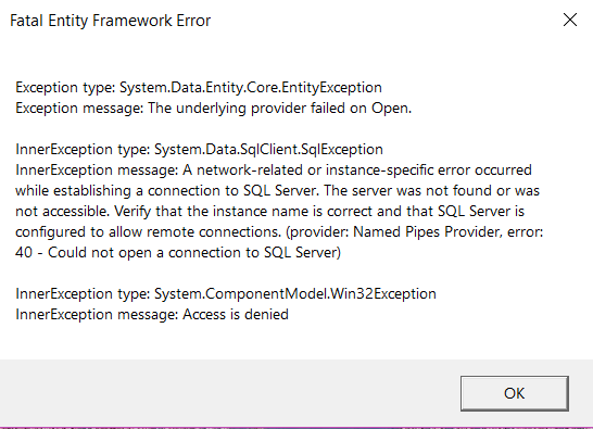 Error trying to fetch data from a view using EF