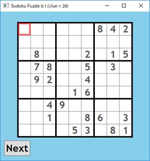 Screen shot of a program Sudoku Puzzle 0.1