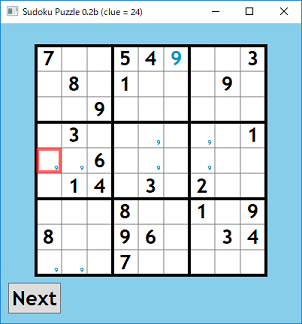 Screen shot of a program Sudoku Puzzle 0.2b