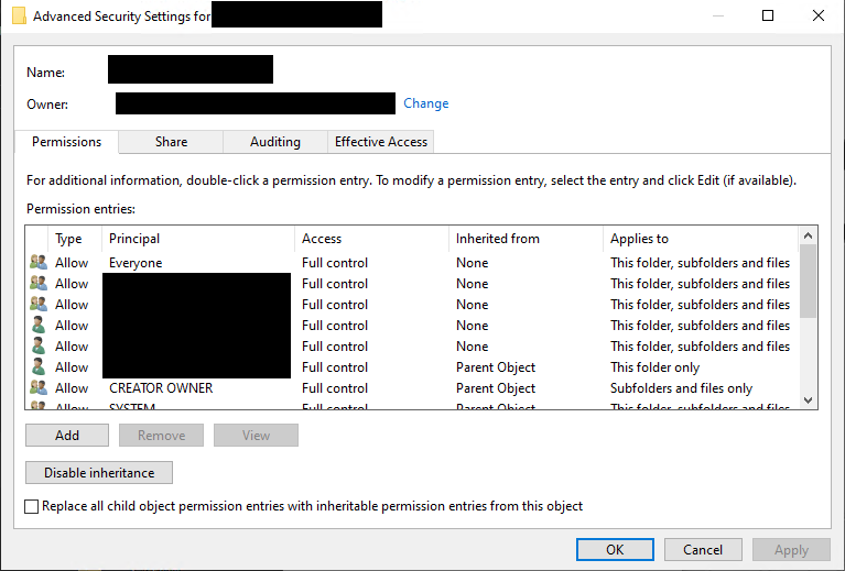Windows file share permissions