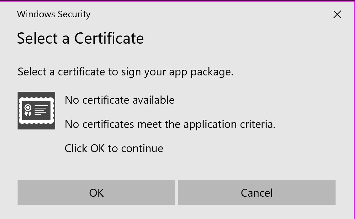 No certificate available