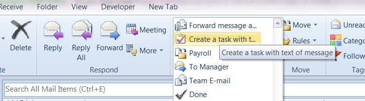 Create and assign task from existing email text