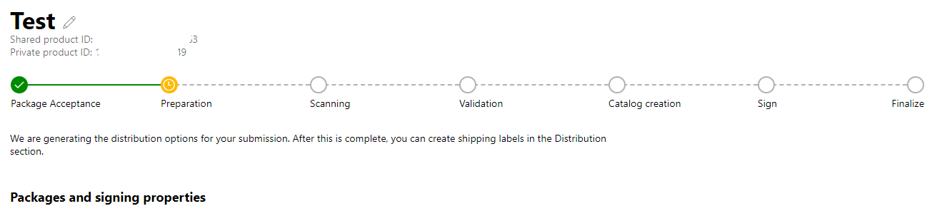 Submission done manually, it kepts hanged after Package Preparation status