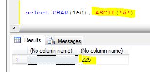 T-SQL ASCII of accented a