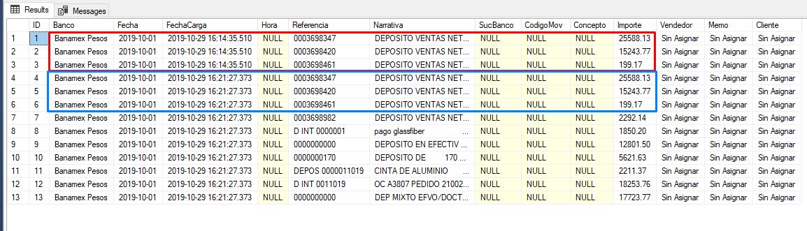 Registros duplicados