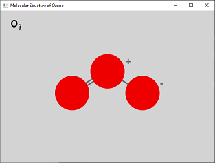 Screen shot of a program Molecular Structure of Ozone 0.2