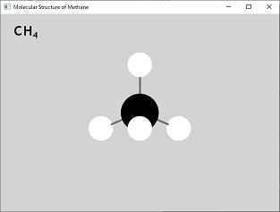 Screen shot of a program Molecule Structure of Methane 0.3