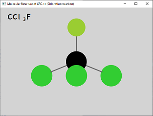 Screen shot of a program Molecular Structure of CFC-11 (Chlorofluorocarbon)